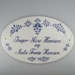 Ovalt håndmalet dørskilt i porcelæn med dekoration blå Nostalgi