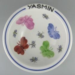 Dyb rund børne tallerken med navn og motiv Sommerfugle og bier