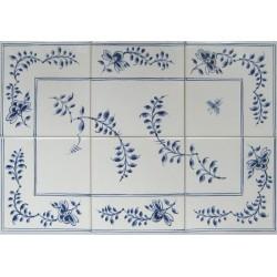 Frise med seks fliser til kakkelbord eller flisevæg i Nostalgi-mønster