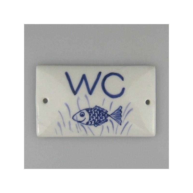 WC-skilt - Håndmalet skilt 8 x 4,8 cm med fisk som dekoration