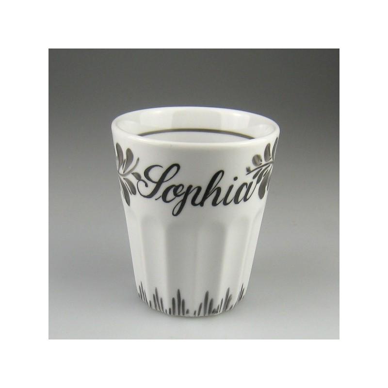 Kaffebæger med navn (model F) og Sommerfugl-dekoration