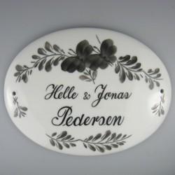 Navne skilt til dør med dekoration sort Sommerfugl