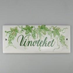 """""""Vinoteket"""" - specialfremstillet skilt i porcelæn"""