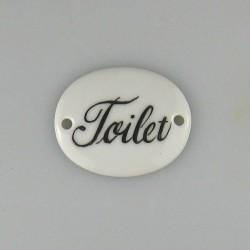 Toilet porcelænsskilt 4,8 x 3,8 cm med 1 hul