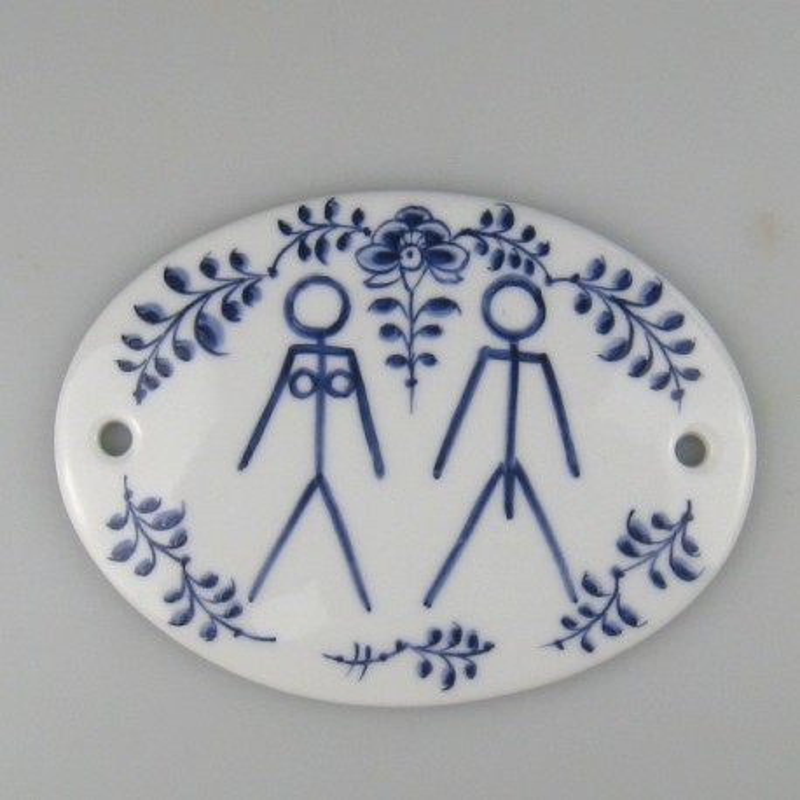 "Toiletskilt ""Adam og Eva"" - Håndmalet porcelænsskilt 12 x 9 cm med dekoration Nostalgi"