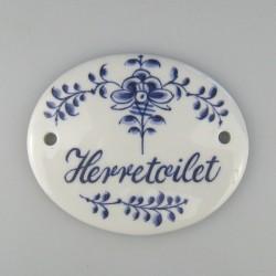 Herretoilet - Håndmalet skilt 9 x 7,5 cm med dekoration i Nostalgi-mønster