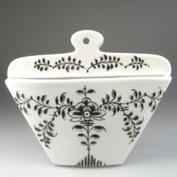 Kaffefilterholder i håndmalet porcelæn med dekoration Sort Nostalgi