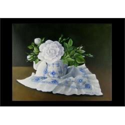 Postkort med blomstermaleri af hvid rose i musselkop