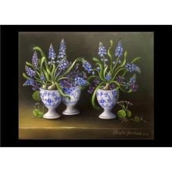 Postkort med blomstermaleri af perlehyacinter i æggebægre