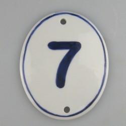 Ovalt skilt på højkant til husnummer