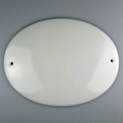24 x 18 cm - Ovalt skilt i porcelæn med navn