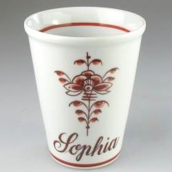 Kaffekrus uden hank med navn og håndmalet dekoration Nostalgi (Model H)