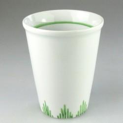 Stort porcelænskrus med enkel græs-dekoration (model H)