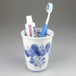 Stort dekoreret tandkrus i porcelæn med Sommerfuglemotiv (Model H)