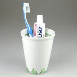 Stort tandkrus i porcelæn med græs-dekoration (Model H)