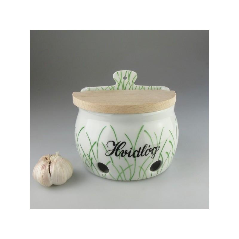 Hvidløgskrukke / væghængt hvidløgsopbevaring i håndmalet porcelæn