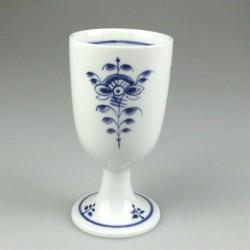 Håndmalet porcelænsbæger på fod med Nostalgi-mønster