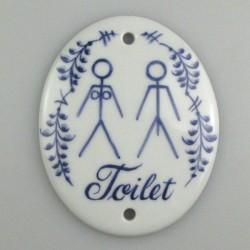 """Toiletskilt """"Adam og Eva"""" på højkant - Håndmalet porcelænsskilt 12 x 9 cm med dekoration Nostalgi"""