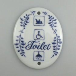 Toilet skilt - 7,5 x 9 cm - med tekst og piktogrammer for puslerum, handicaptoilet og bruser