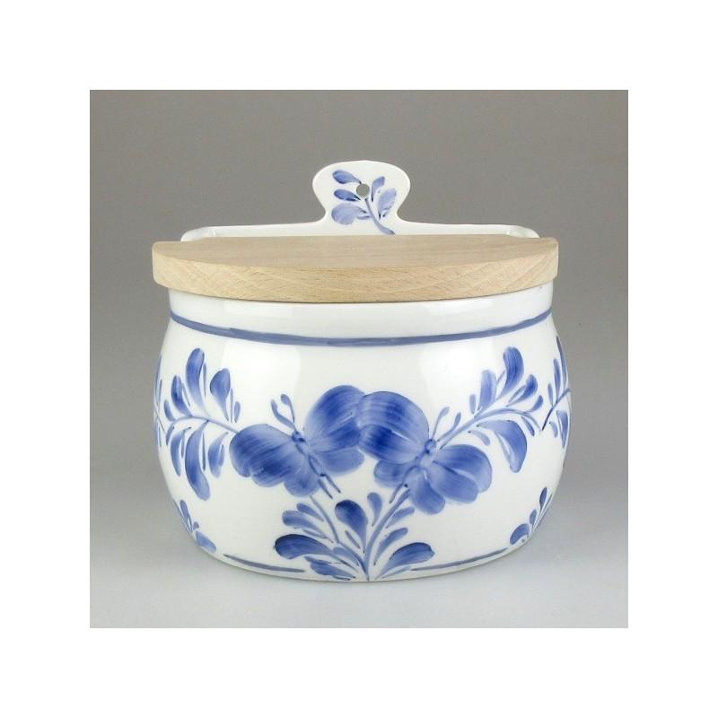 Væghængt saltkar i håndmalet porcelæn med dekoration Sommerfugl