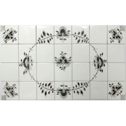 Nostalgi - Frise med håndmalede fliser med et ovalt Nostalgi-mønster