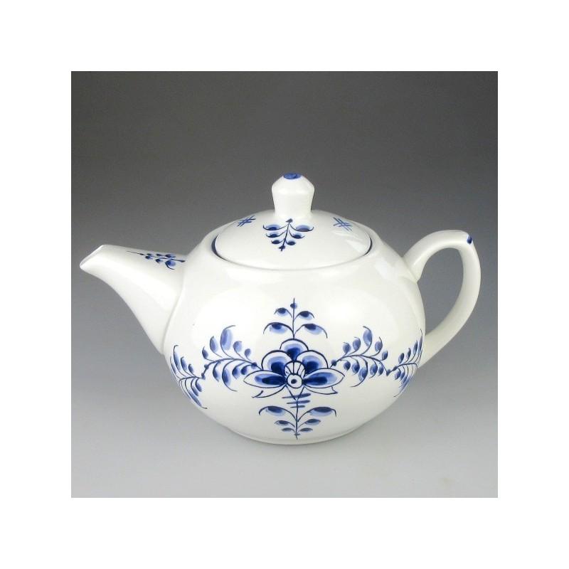 Blå Nostalgi dekoration på håndmalet tepotte i porcelæn