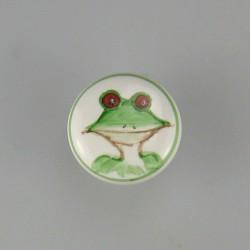 Håndmalet knop af porcelæn med frø motiv til børneværelset og badeværelset