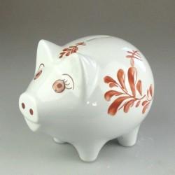 Håndmalet porcelæns sparegris (stor) med blad dekoration