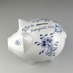 Pige - Sparegris (stor) i porcelæn med håndmalet navn og dekoration i mønsteret Nostalgi-pige