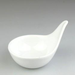 Lille skål til soya med greb i hvidt porcelæn