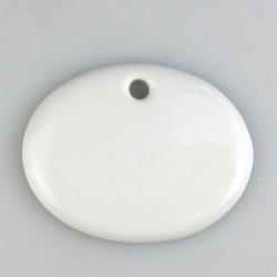 5,6 x 4,5 cm - Lille ovalt skilt i porcelæn, håndmalet - med 1 hul