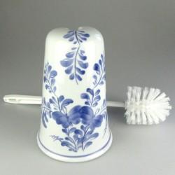Toiletbørsteholder i håndmalet porcelæn med sommerfuglemotiv