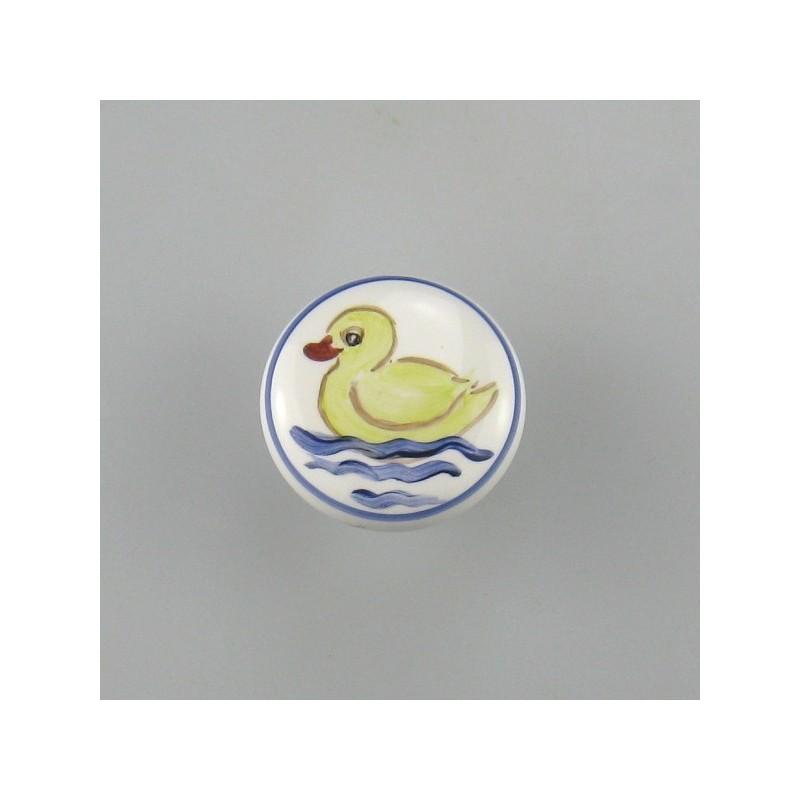 Knage af porcelæn til børneværelset med en and som motiv
