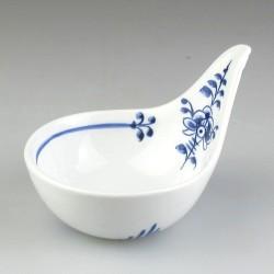 Lille porcelænsskål med spidst greb og Nostalgi-dekoration - til appetizers, tapas, soya, delikatesser, smagsprøver og salt