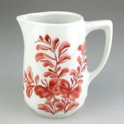 Håndmalet porcelænskande - 4,5 dl - med bordeaux Sommerfugle-mønster