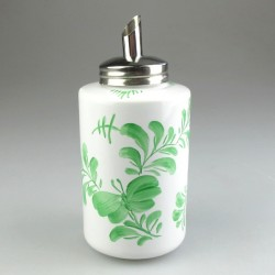 Sukkerdispenser i porcelæn og håndmalet grønt Sommerfuglemotiv