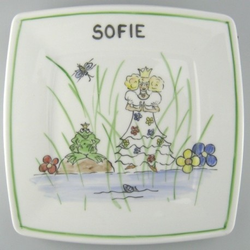 Flad firkantet børne tallerken med navn og motiv Prinsessen og Frøen - Model B