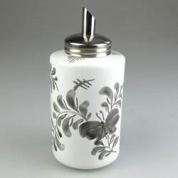 Sukkerdispenser i porcelæn og håndmalet sort Sommerfuglemotiv
