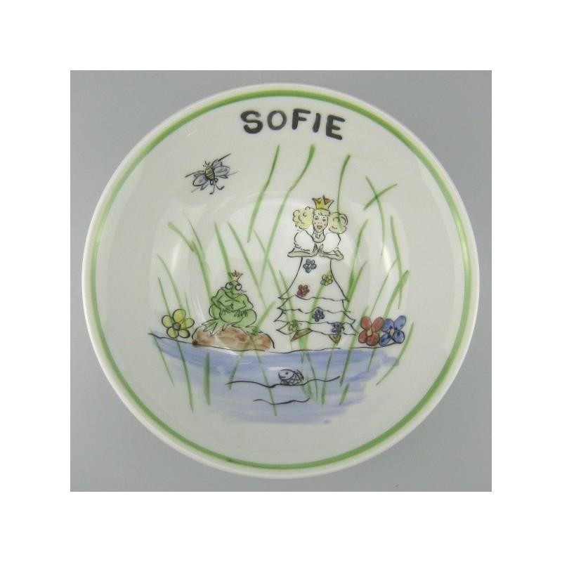 Rund dyb børne tallerken med navn og motiv Prinsessen og Frøen - Model B