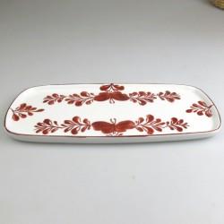 23 x 11,5 cm - Lille sushi fad / tallerken i håndmalet porcelæn med bordeaux Sommerfugle-motiv