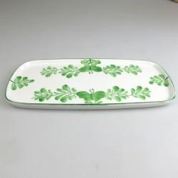 23 x 11,5 cm - Lille sushi fad / tallerken i håndmalet porcelæn med grønt Sommerfugle-motiv