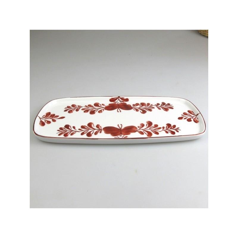 23 x 11,5 cm - Lille serveringsfad / tapasfad i håndmalet porcelæn med bordeaux Sommerfugle-motiv