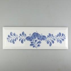 Stor metroflise - 30 x 10 cm - med håndmalet dekoration i Sommerfugle-mønster