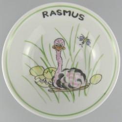 Rund dyb tallerken til børn med navn og motiv Struds og æg der klækker