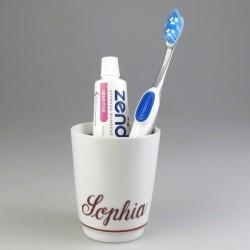 Tandbørsteholder i porcelæn med håndmalet navn (Model K)