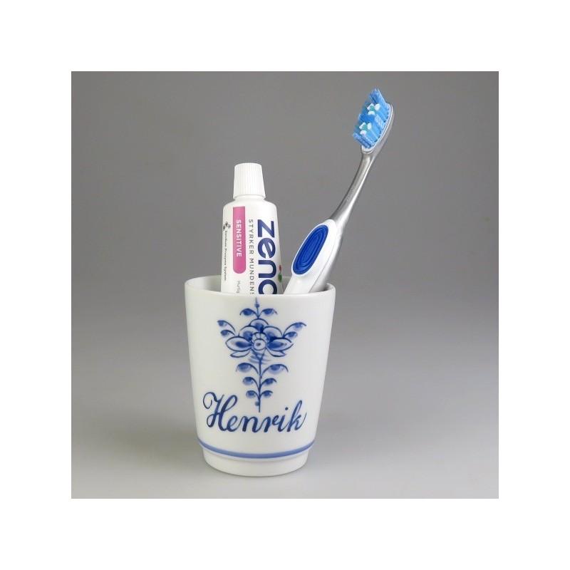 Tandkrus i porcelæn med navn og Nostalgi-dekoration (Model K)