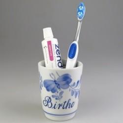 Tandkrus i håndmalet porcelæn med navn og Sommerfugle-dekoration (Model K) (Model K)