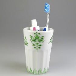 Stort tandkrus i porcelæn med håndmalet dekoration Nostalgi