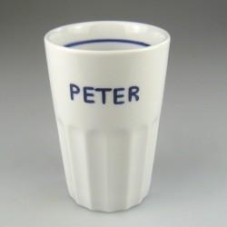 Stort tandkrus i porcelæn med håndmalet navn (model D)