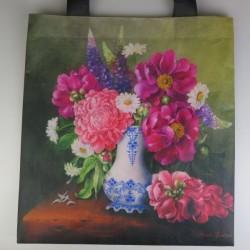 Bærepose med blomstermaleri